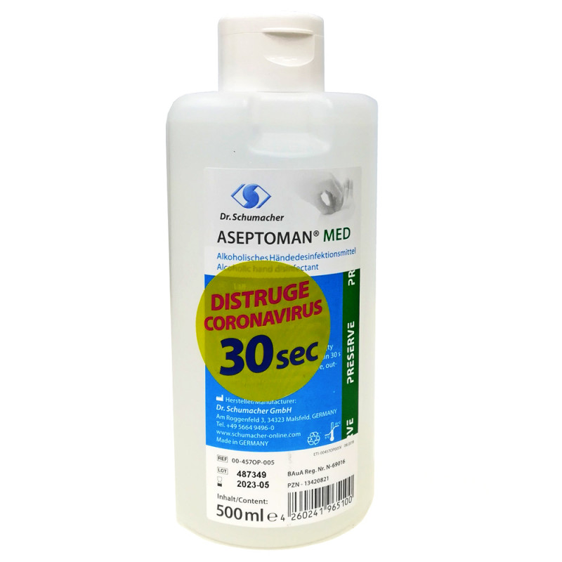 Dezinfectant de Maini Igienic si Chirurgical - Aseptoman Med 500ml cu dozator inclus