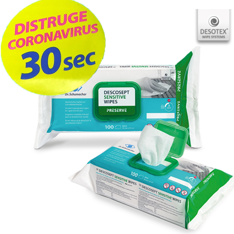 Servetele dezinfectante x 100 bc  - Descosept Sensitive Wipes Preserve