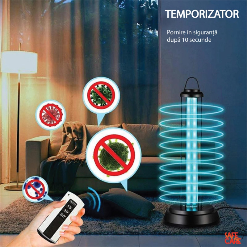 Lampa virucida Ultraviolete + Ozon 38W (5-50MP) cu senzor de miscare