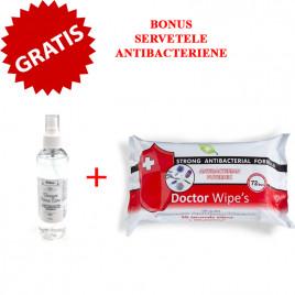 Gel dezinfectant pentru maini cu efect antimicrobian Vanogel x 250ml + Gratuit SERVETELE BIOCIDE DEZINFECTANTE PENTRU MAINI, DOCTOR WIPES, 72BUC