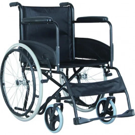 Scaun cu rotile din otel pliabil material textil negru