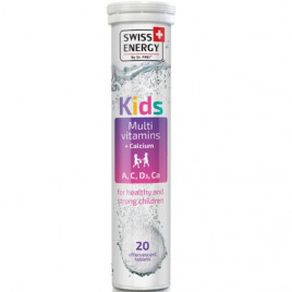 Kids Multivitamine + Calciu (Aroma De Capsuni)  x 20 tablete efervescente -  SWISS ENERGY