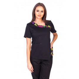 Bluza Imprimata - Black Blossom Fashion Stretch