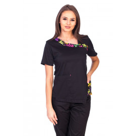 Bluza Imprimata - Black Blossom Fashion Stretch