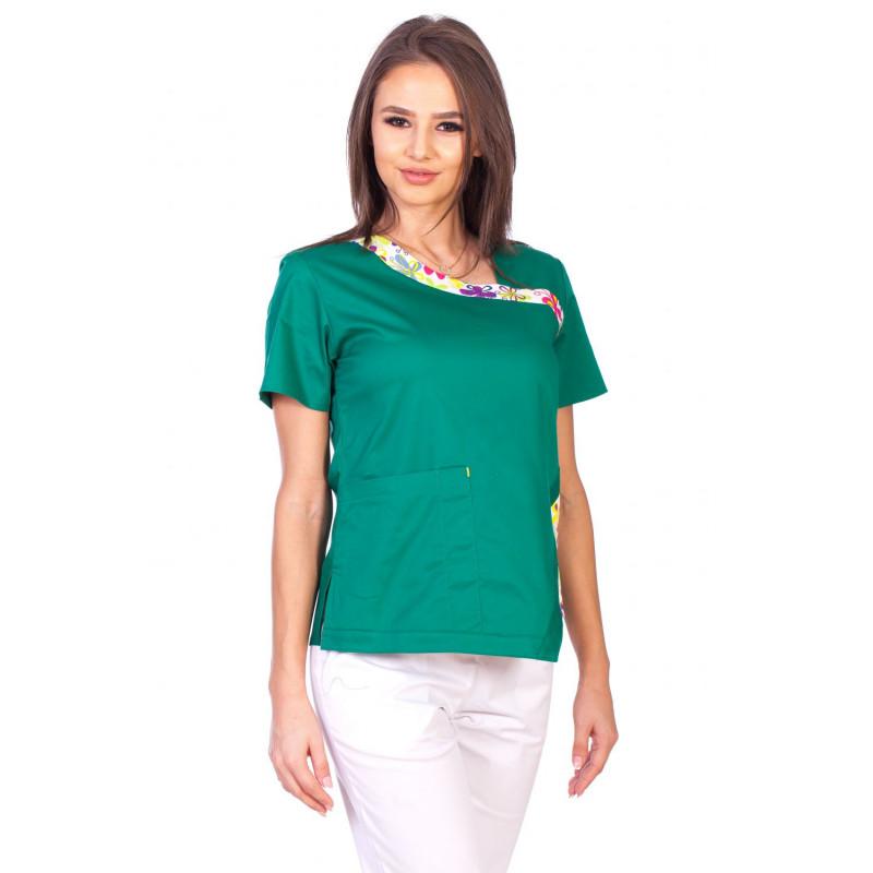 Bluza Imprimata - Green Blossom Fashion Stretch